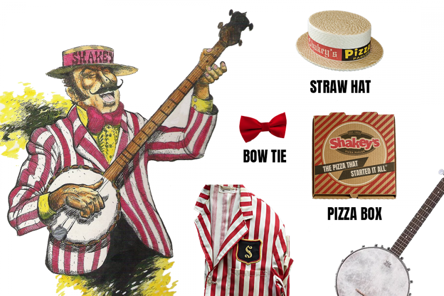 Shakey's Vintage Look includes a banjo, bow tie, shakeys box and striped jacket.